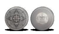 Mandala Kálačakra na minci z ryzího stříbra