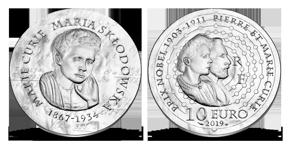 Stříbrná mince s portrétem Marie Curie Sklodowské