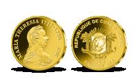 Marie Terezie na minci z ryzího zlata
