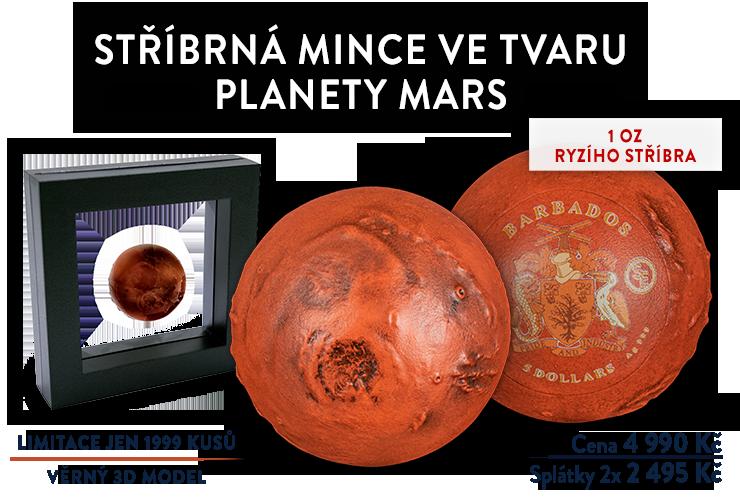 Stříbrná mince ve tvaru planety Mars