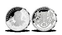 E. Beneš na medaili z ryzího stříbra