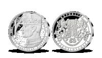 M. R. Štefánik na medaili z ryzího stříbra