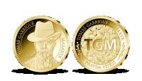 T. G. Masaryk na medaili z 14karátového zlata