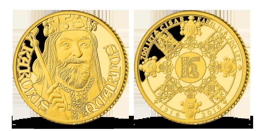 Medaile k 700. výročí narození Karla IV., Otec vlasti na zlaté medaili
