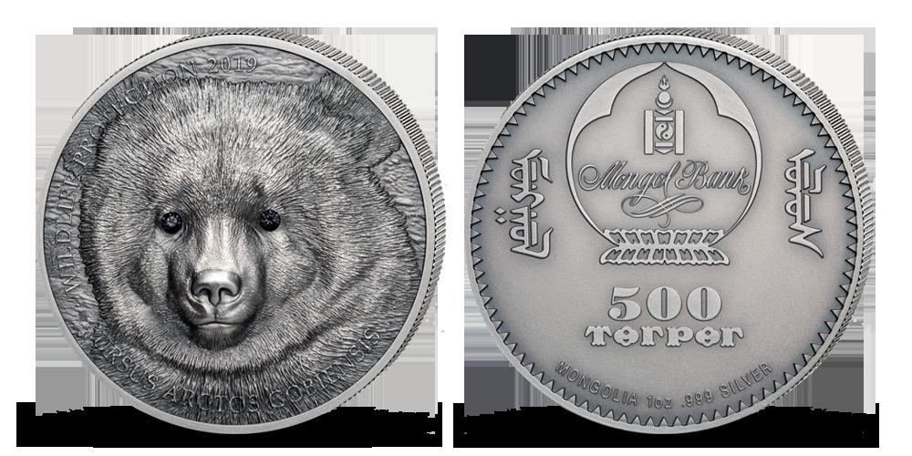 Medvěd Gobi na minci z jedné unce ryzího stříbra