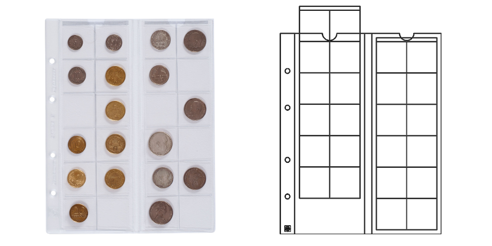 Mincovní obal Optima pro 24 mincí do Ø 34 mm