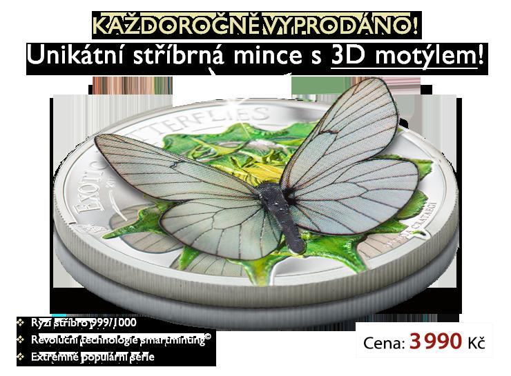 Unikátní stříbrná mince s 3D motýlem