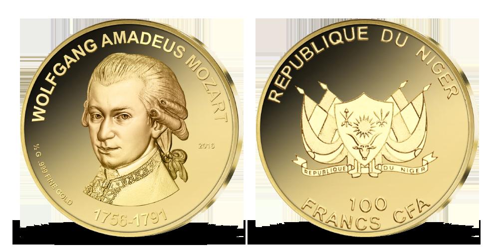 W. A. Mozart na minci z ryzího zlata