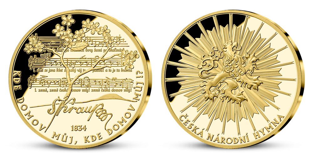 Národní hymna na medaili z ryzího zlata