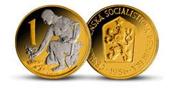 Legendární československá koruna - originál mince zušlechtěný vzácným rhodiem a ryzím zlatem