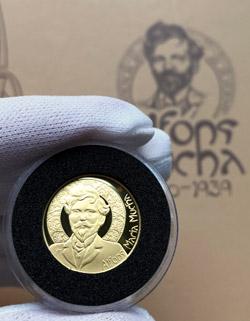Jubilejní zlatá medaile Alfons Mucha z ryzího zlata 999/1000