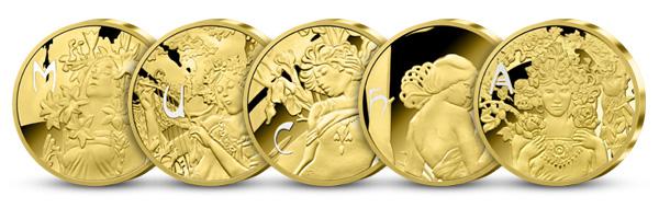 Sada pamětních medailí pozlacených ryzím zlatem - M*U*C*H*A