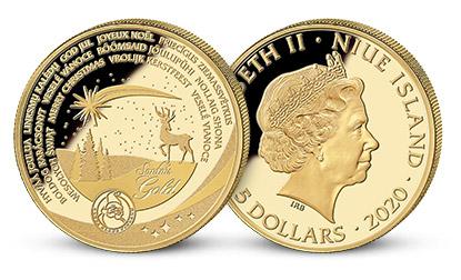 Mince Veselé Vánoce na minci z 3,11 gramu ryzího zlata