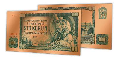 Měděná replika legendární československé bankovky zdarma!