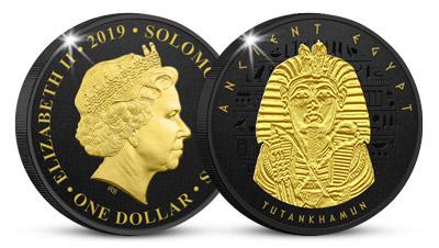 Tutanchamon na minci zušlechtěné černým niklem a 24k zlatem