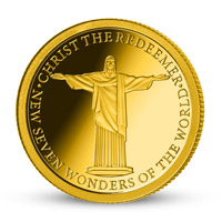 Zlatá mince Socha Ježíše v Riu