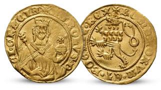 Královský zlatý dukát s podobiznou legendárního Karla IV.