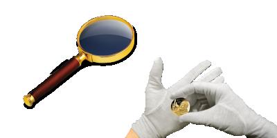 Numismatické rukavice a lupa