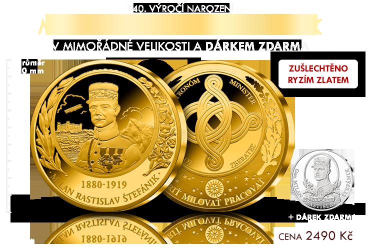 M. R. Štefánik na pamětní medaili s úctyhodným průměrem & DÁREK zdarma