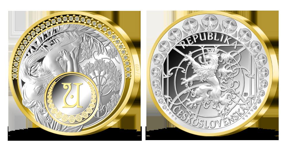 5uncová stříbrná medaile Alfons Mucha - Poezie