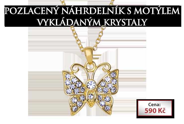 Pozlacený náhrdelník s motýlem