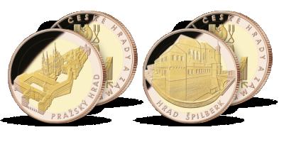 Pražský hrad a Špilberk s mincovním rámem