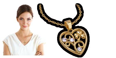Přívěšek ve tvaru srdce se čtyřlístkem a krystaly Swarovski