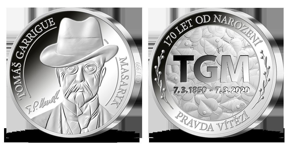 Výroční stříbrná medaile vyražená v den 170. výročí narození T. G. Masaryka