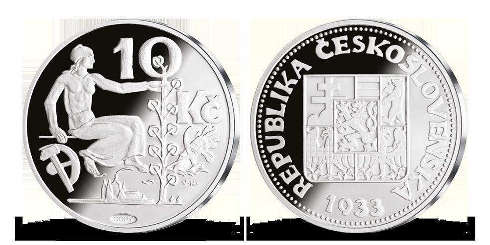 Repliky originálních československých mincí - desetikoruna z roku 1933