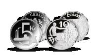Repliky originálních československých mincí - desetikoruna z roku 1933 a pětikoruna z roku 1937.