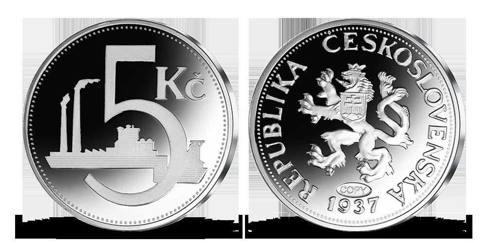 Repliky originálních československých mincí - pětikoruna z roku 1937