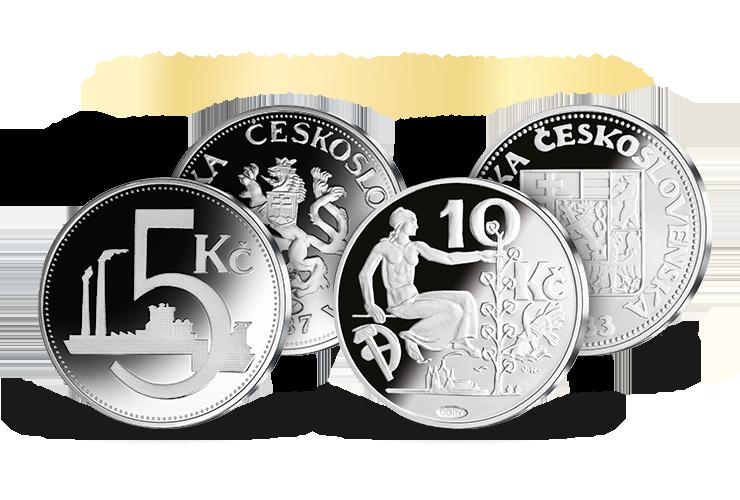 Československá desetikoruna z roku 1933 a pětikoruna z roku 1937
