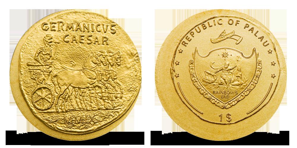 Antický generál Germanicus na replice historické mince ze starého Říma