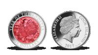 Rok kohouta 2017 - stříbrná mince s pravou perletí