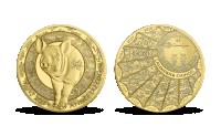 Rok prasete na minci z ryzího zlata