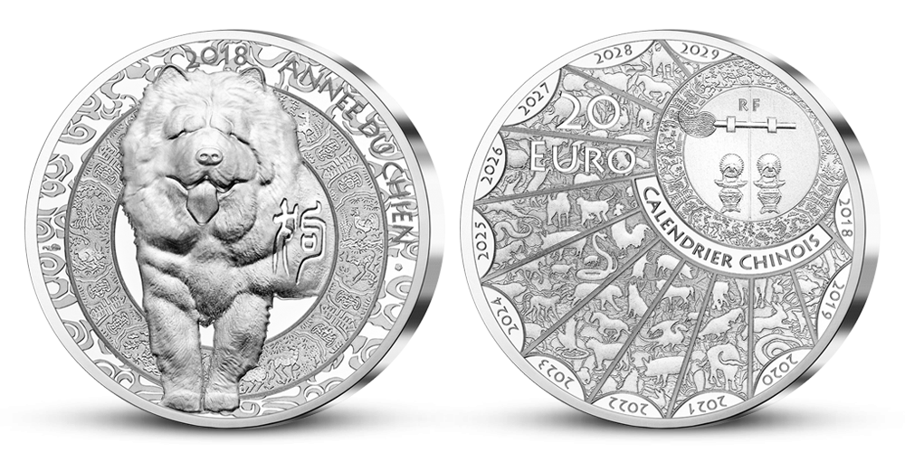 Rok psa 2018 na stříbrné minci