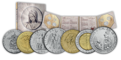Sada 7 originálních mincí z Vatikánu