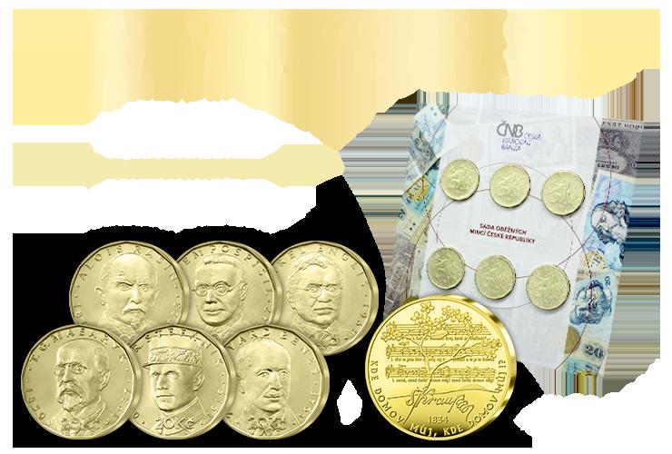 Sada 20 Kč mincí ČNB & Pamětní medaile Česká hymna