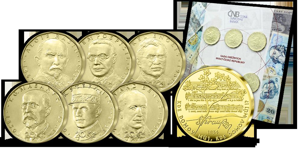 Sada dvacetikorun ČNB s pamětní medailí Česká hymna