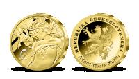 Alfons Mucha - sada pamětních medailí zušlechtěných ryzím zlatem - Kosatec