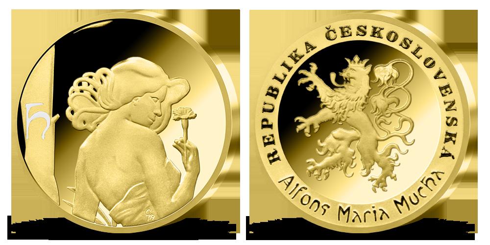 Alfons Mucha - sada pamětních medailí zušlechtěných ryzím zlatem - Karafiát