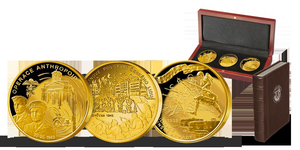 Set medailí Češi ve válce s bohatým příslušenstvím