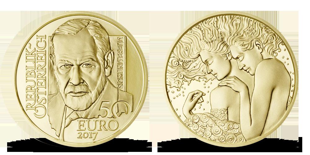 Sigmund Freud na zlaté minci