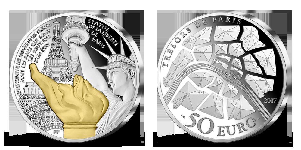 Socha Svobody a symboly Paříže na 5 uncové stříbrné minci