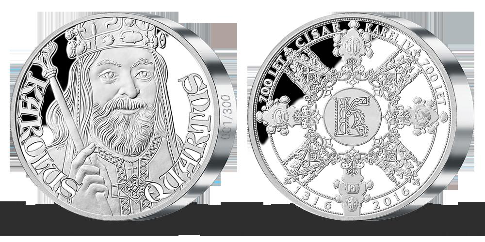 5uncová stříbrná medaile k 700. výročí narození Karla IV.