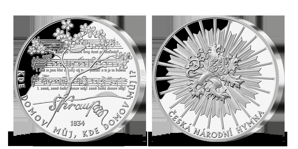 Česká národní hymna - 185. výročí hymny na 5uncové stříbrné medaili