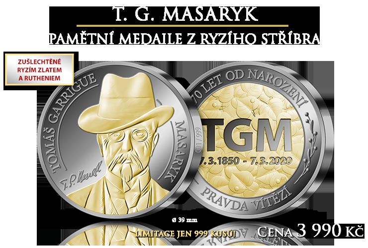 Pamětní medaile s T. G. Masarykem z ryzího stříbra