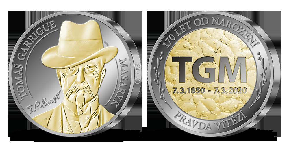 Stříbrná medaile T. G. Masaryk zušlechtěná zlatem a rutheniem