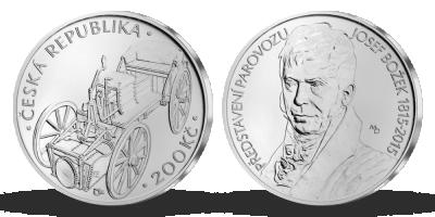 Stříbrná mince ČNB - 200. výročí představení parovozu