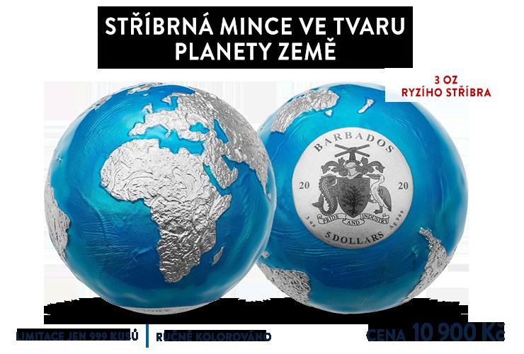 Stříbrná mince ve tvaru planety Země